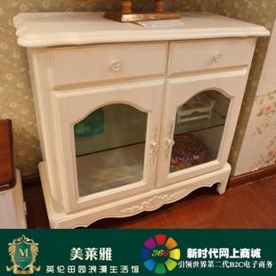 美莱雅 奢华客厅家具 实木双门酒柜 白色雕花酒柜 h105 样品